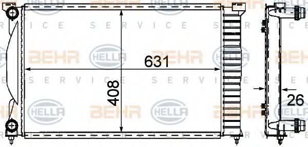BEHR HELLA SERVICE 8MK376781001 Радиатор, охлаждение двигателя