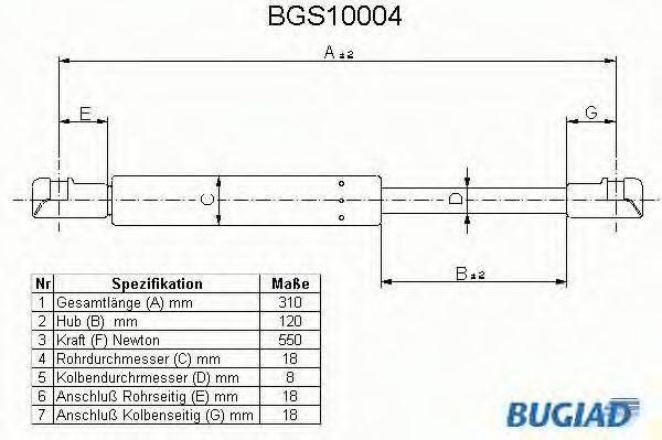 BUGIAD BGS10004 Газовая пружина, крышка багажник