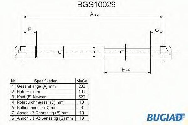 BUGIAD BGS10029 Газовая пружина, крышка багажник