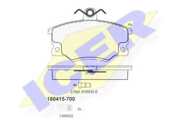 ICER 180415700 Комплект тормозных колодок, дисковый тормоз