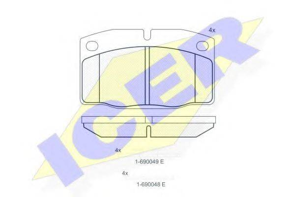 ICER 180454073 Комплект тормозных колодок, дисковый тормоз