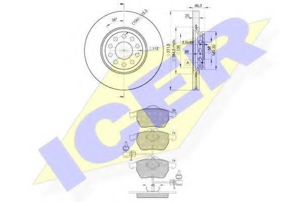 ICER 313624065 Комплект тормозов, дисковый тормозной механизм