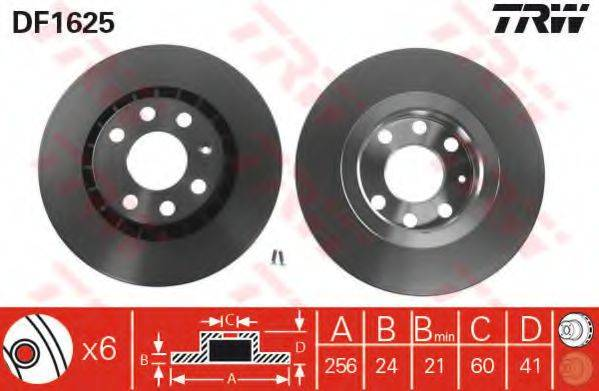 TRW DF1625 Тормозной диск