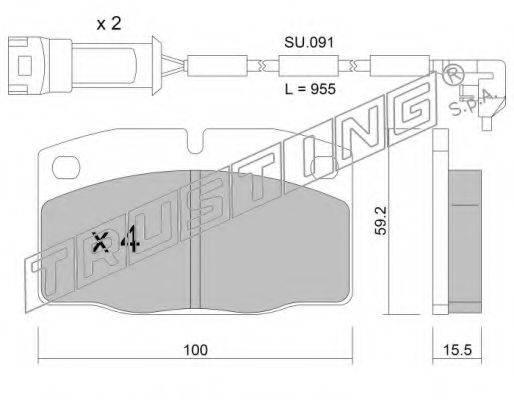 TRUSTING 0462W Комплект тормозных колодок, дисковый тормоз