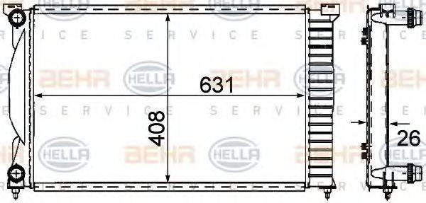 HELLA 8MK376781001 Радиатор, охлаждение двигателя
