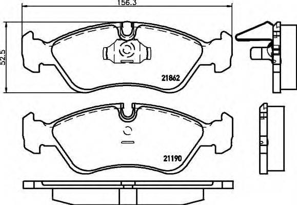 HELLA 8DB355007761 Комплект тормозных колодок, дисковый тормоз
