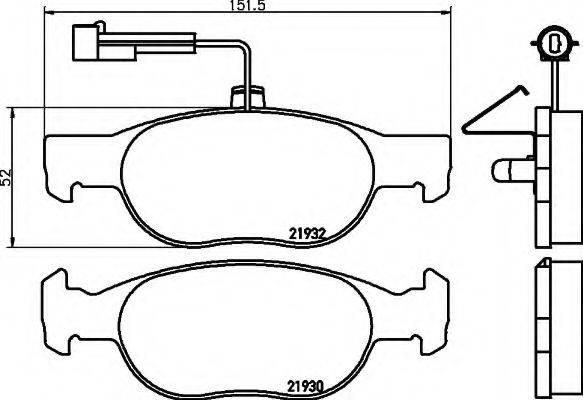 HELLA 8DB355008061 Комплект тормозных колодок, дисковый тормоз