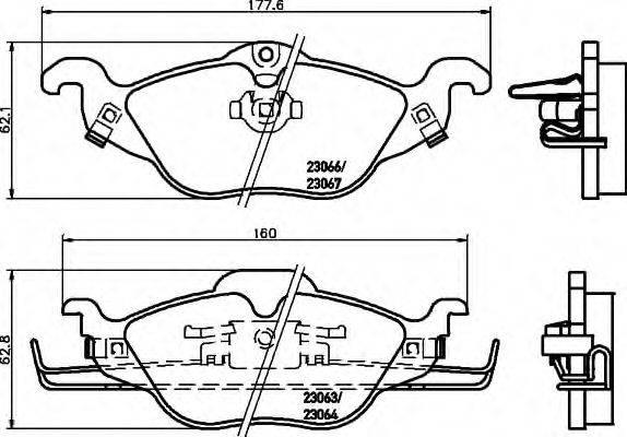HELLA 8DB355008571 Комплект тормозных колодок, дисковый тормоз