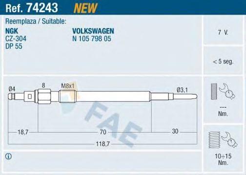 FAE 74243 Свеча накаливания