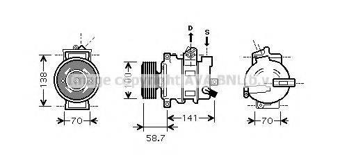 AVA QUALITY COOLING AIAK287 Компрессор, кондиционер