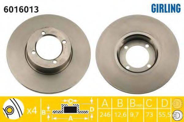 GIRLING 6016013 Тормозной диск