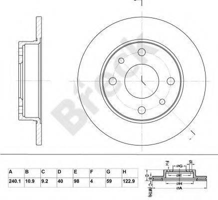 BRECK BR002SA100 Тормозной диск