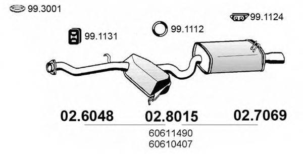ASSO 026048 Средний глушитель выхлопных газов