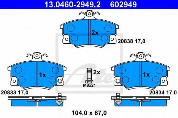 ATE 13046029492 Комплект тормозных колодок, дисковый тормоз