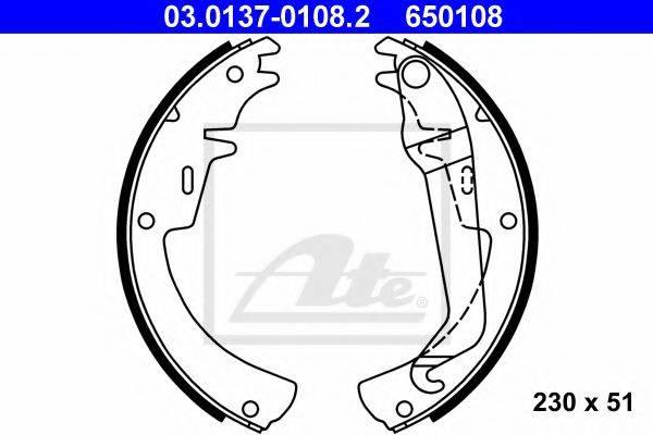 ATE 03013701082 Комплект тормозных колодок