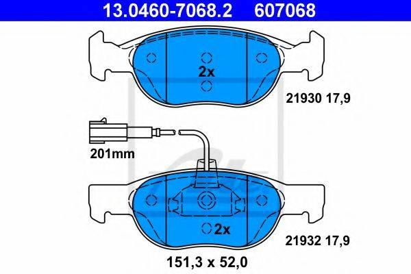 ATE 13046070682 Комплект тормозных колодок, дисковый тормоз