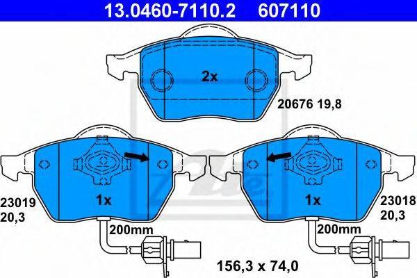 ATE 13046071102 Комплект тормозных колодок, дисковый тормоз