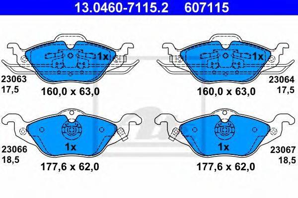 ATE 13046071152 Комплект тормозных колодок, дисковый тормоз