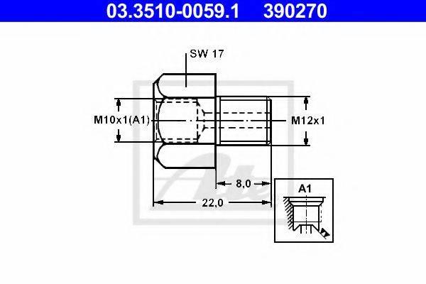 ATE 03351000591 Адаптер, трубопровод тормозного привода