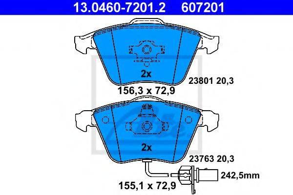 ATE 13046072012 Комплект тормозных колодок, дисковый тормоз