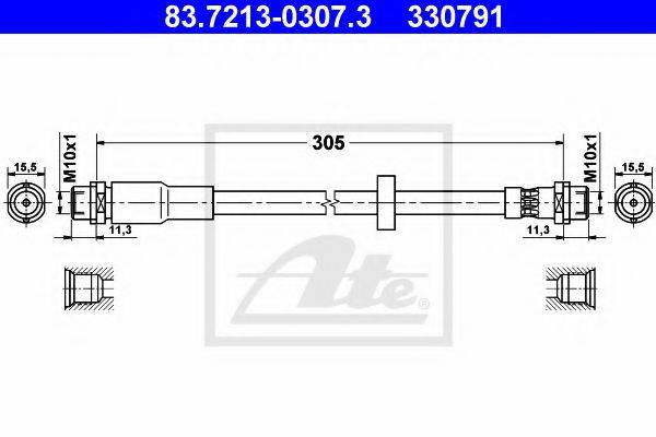 ATE 83721303073 Тормозной шланг