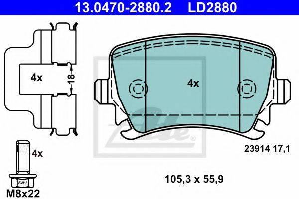 ATE 13047028802 Комплект тормозных колодок, дисковый тормоз