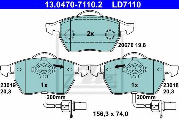 ATE 13047071102 Комплект тормозных колодок, дисковый тормоз