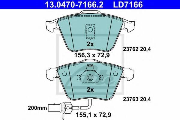 ATE 13047071662 Комплект тормозных колодок, дисковый тормоз