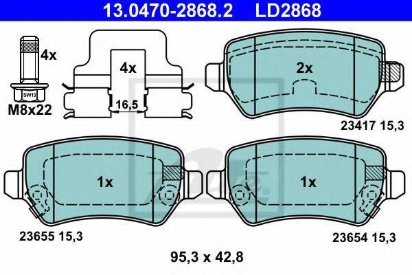 ATE 13047028682 Комплект тормозных колодок, дисковый тормоз