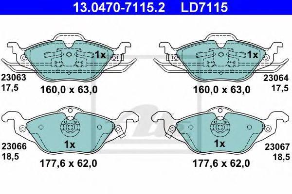 ATE 13047071152 Комплект тормозных колодок, дисковый тормоз