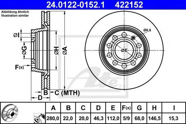 ATE 24012201521 Тормозной диск