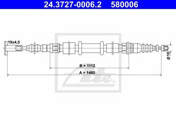 ATE 24372700062 Трос, стояночная тормозная система