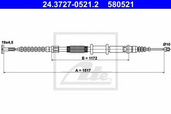 ATE 24372705212 Трос, стояночная тормозная система