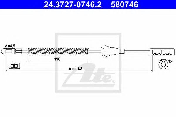 ATE 24372707462 Трос, стояночная тормозная система