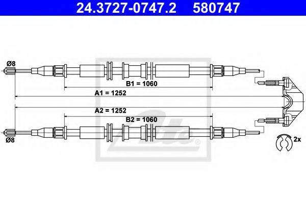 ATE 24372707472 Трос, стояночная тормозная система