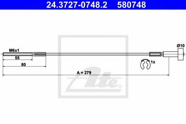 ATE 24372707482 Трос, стояночная тормозная система