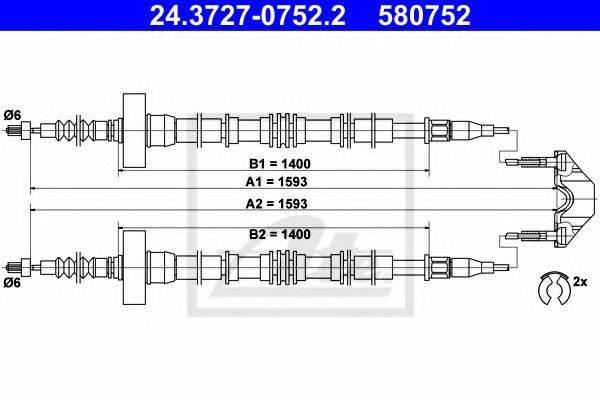 ATE 24372707522 Трос, стояночная тормозная система