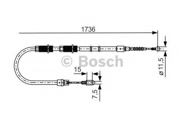 BOSCH 1987477257 Трос, стояночная тормозная система