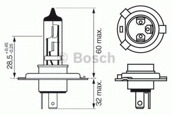 BOSCH 1987302043 Лампа накаливания, фара дальнего света; Лампа накаливания, основная фара