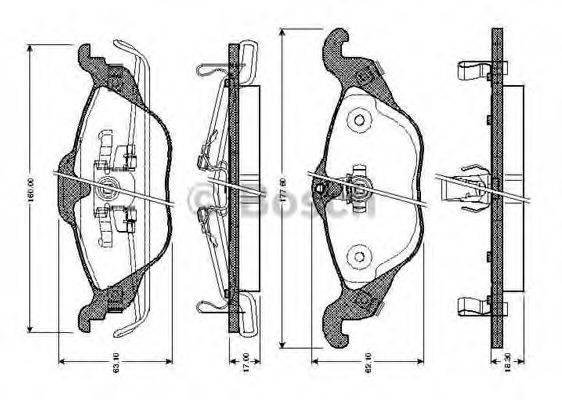 BOSCH 0986TB2044 Комплект тормозных колодок, дисковый тормоз