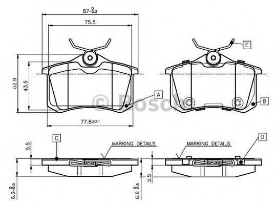 BOSCH 0986TB3066 Комплект тормозных колодок, дисковый тормоз