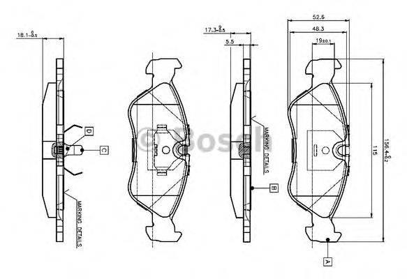 BOSCH 0986TB2016 Комплект тормозных колодок, дисковый тормоз