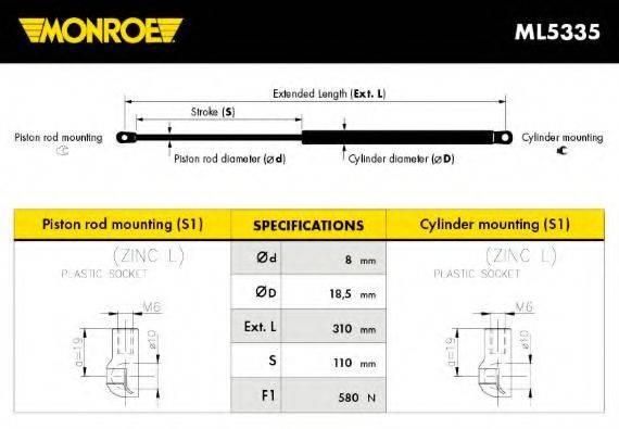 MONROE ML5335 Газовая пружина, крышка багажник