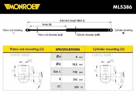 MONROE ML5386 Газовая пружина, капот
