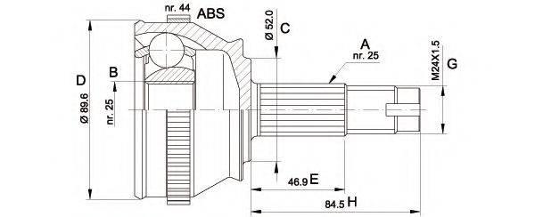 OPEN PARTS CVJ509210 Шарнирный комплект, приводной вал