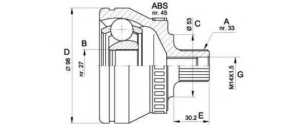 OPEN PARTS CVJ536810 Шарнирный комплект, приводной вал