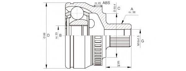 OPEN PARTS CVJ544410 Шарнирный комплект, приводной вал