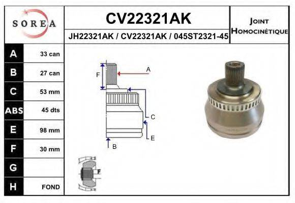 EAI CV22321AK Шарнирный комплект, приводной вал