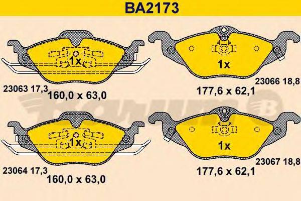 BARUM BA2173 Комплект тормозных колодок, дисковый тормоз