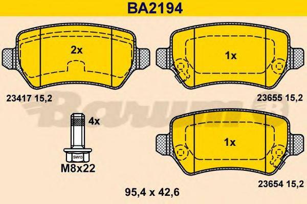 BARUM BA2194 Комплект тормозных колодок, дисковый тормоз